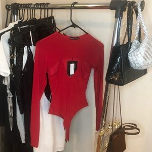 Tops - Red Cut Out Slinky Bodysuit